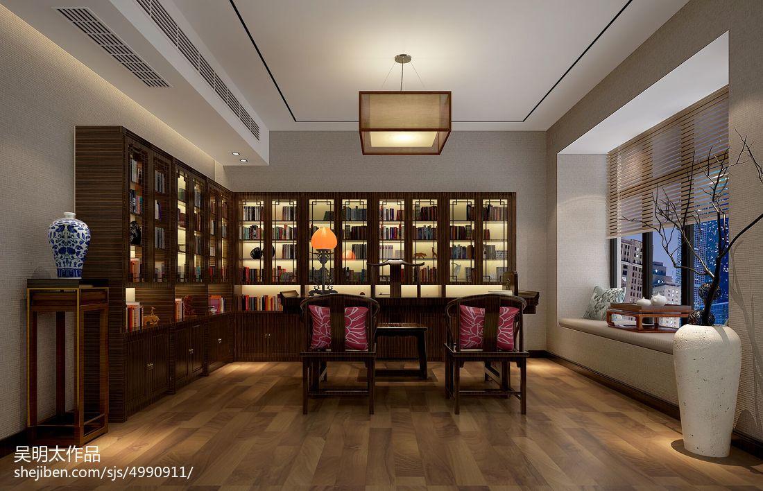 2018139平米中式别墅书房装饰图