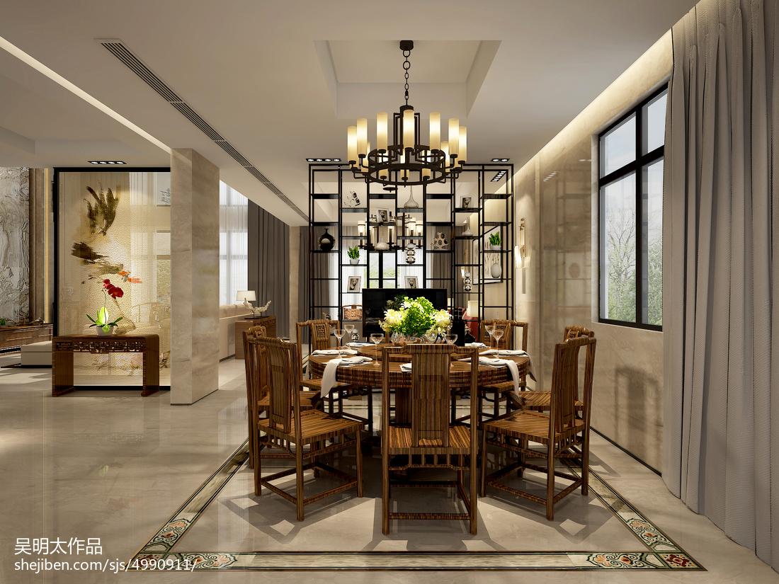 2018精选面积127平别墅餐厅中式装修实景图片