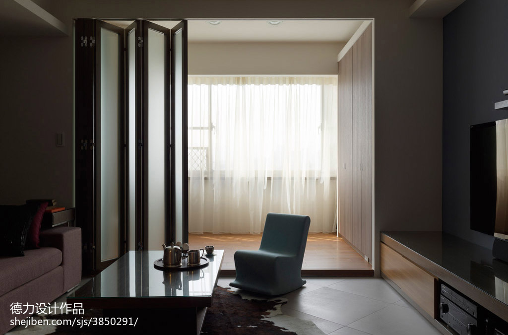 98.4平米3室客厅混搭欣赏图
