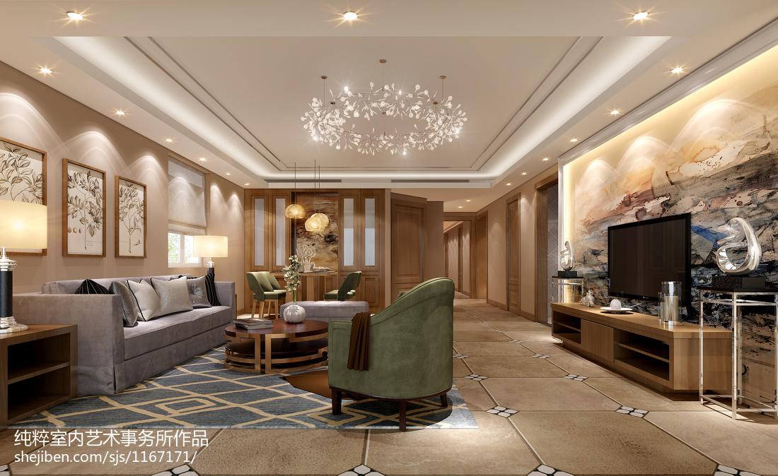 2018129平方四居客厅混搭装修实景图片欣赏