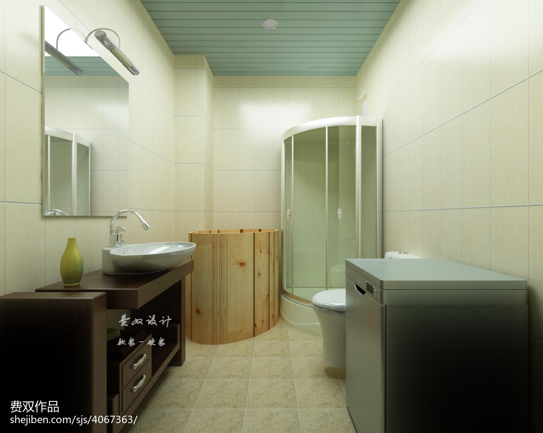 精选75平米二居卫生间美式装修欣赏图