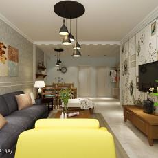 面积96平美式三居客厅装修欣赏图片