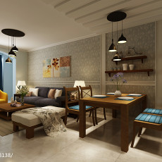 2018103平米三居客厅美式欣赏图片