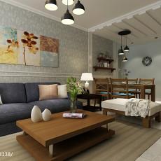 2018精选面积107平美式三居客厅装修实景图片