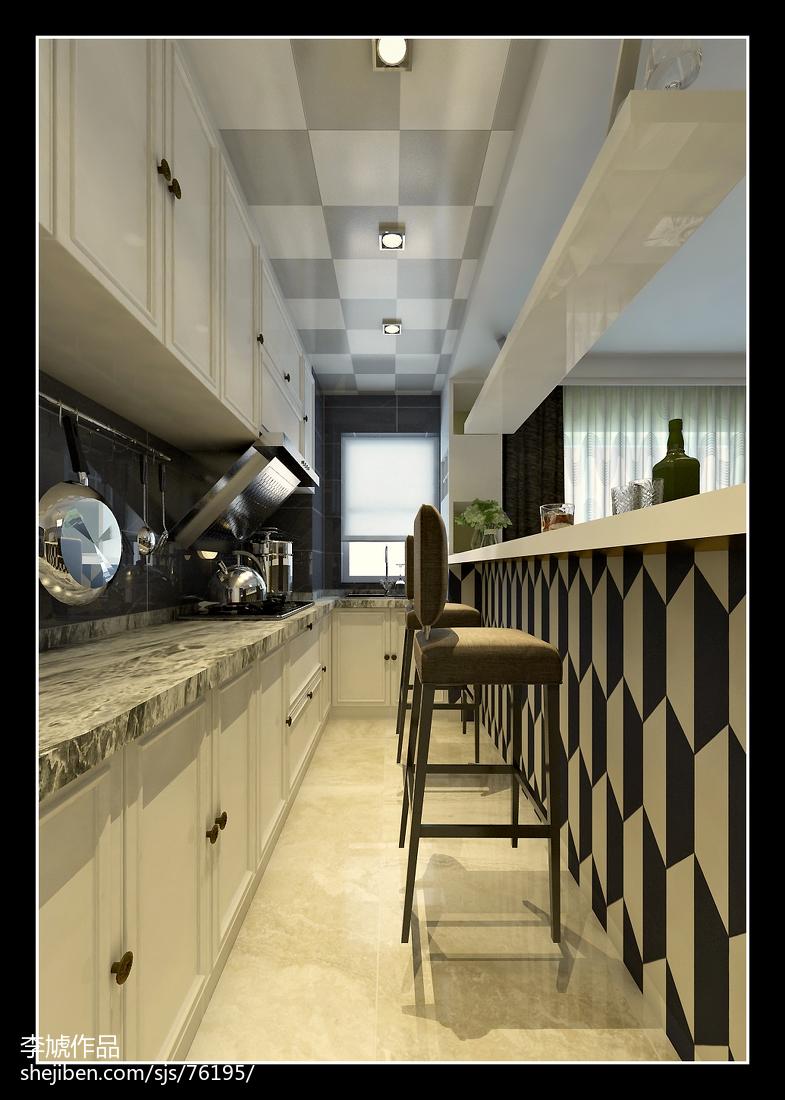 精美75平米现代小户型厨房装饰图片