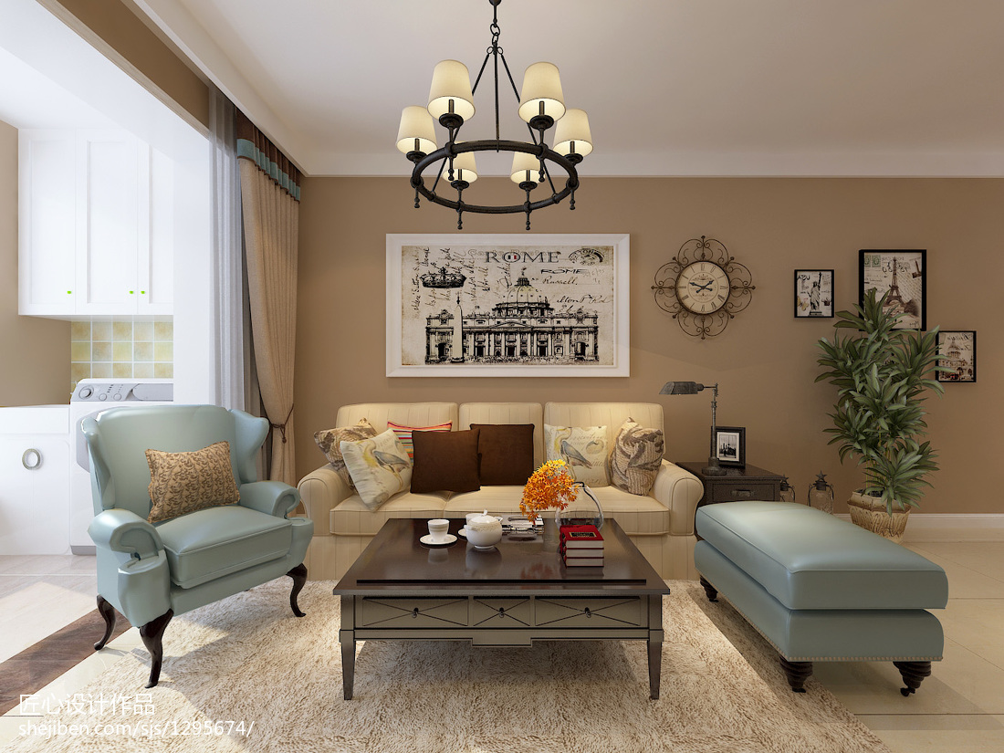 热门88平混搭二居客厅装修图片欣赏