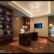 热门108平米三居书房现代欣赏图片大全