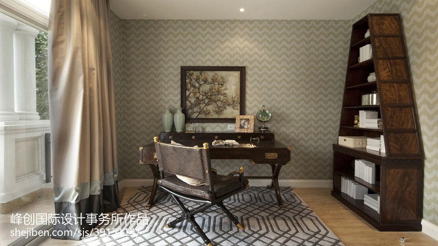 热门面积124平别墅书房美式装饰图片大全