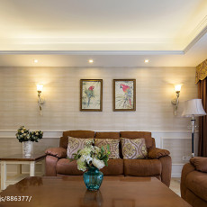 轻奢72平现代三居客厅装饰图