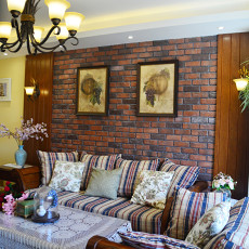 2018精选面积98平美式三居客厅装修实景图片大全
