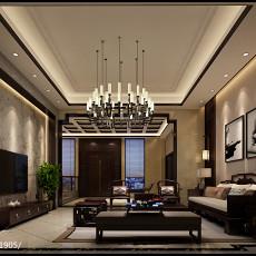 2018精选面积124平别墅客厅中式装饰图片