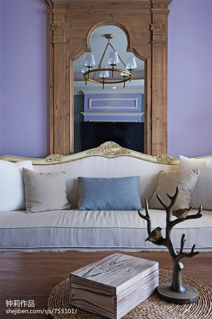 精美面积107平美式三居客厅装修实景图片欣赏