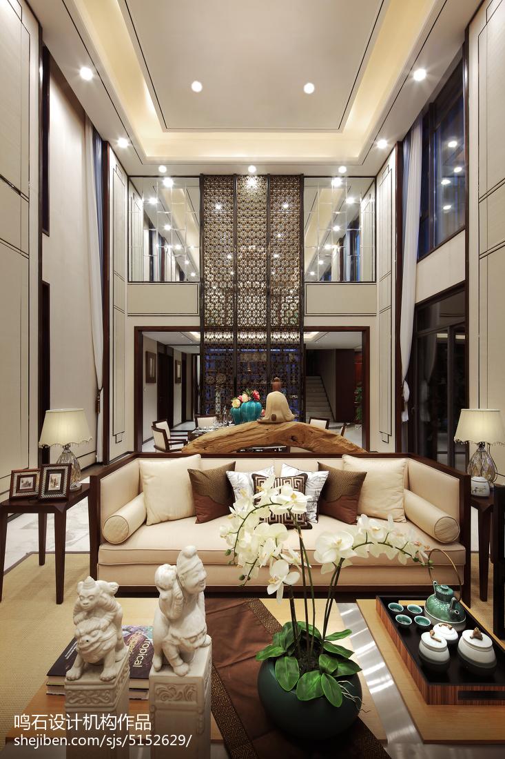 热门面积140平别墅客厅中式装修设计效果图片欣赏