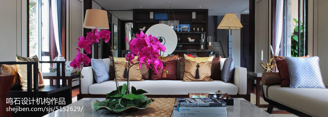 热门面积137平别墅客厅中式装修设计效果图