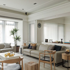 2018精选面积91平美式三居客厅装修效果图