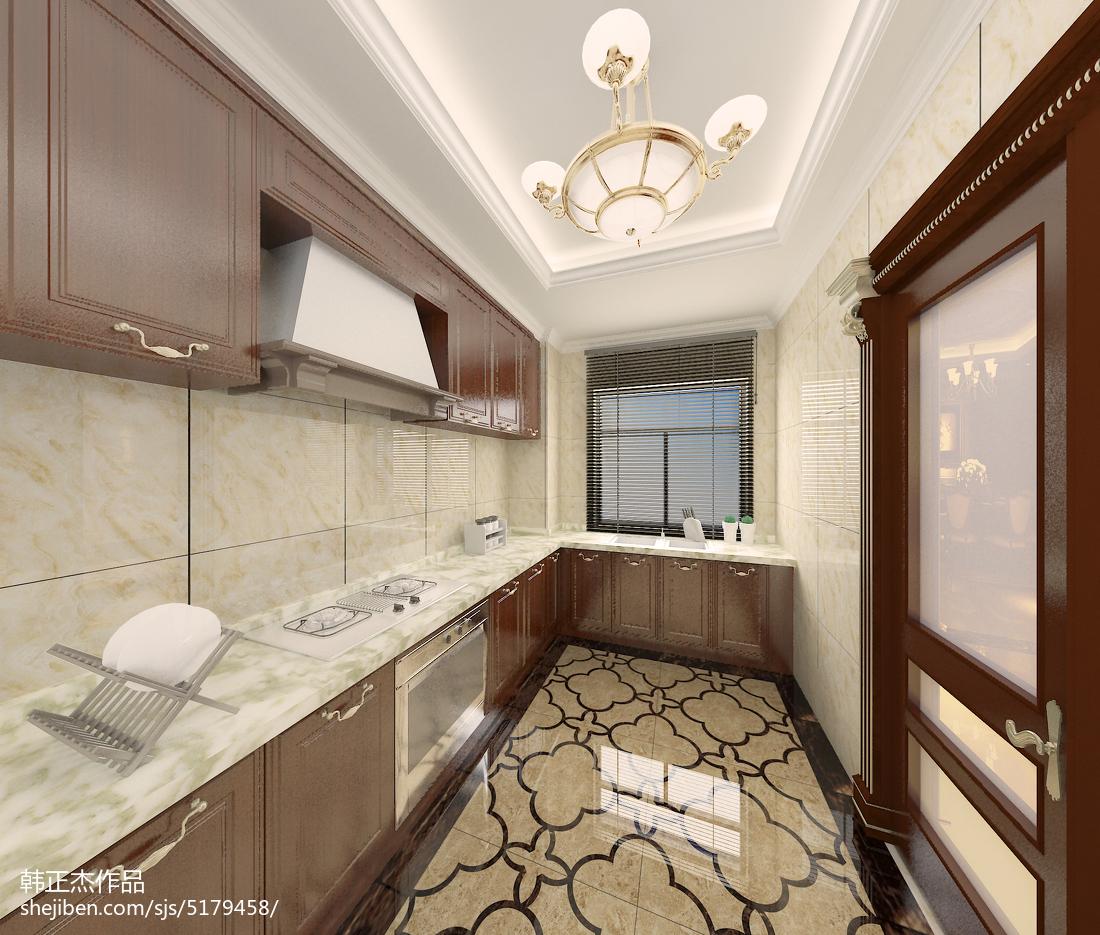2018面积125平别墅厨房欧式装修效果图片欣赏