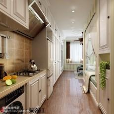 2018面积76平小户型厨房美式装饰图片欣赏