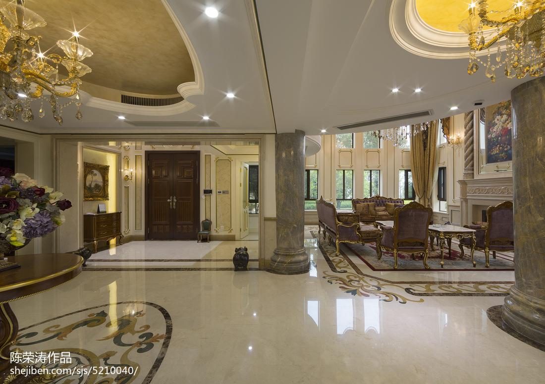 面积118平别墅客厅欧式实景图片