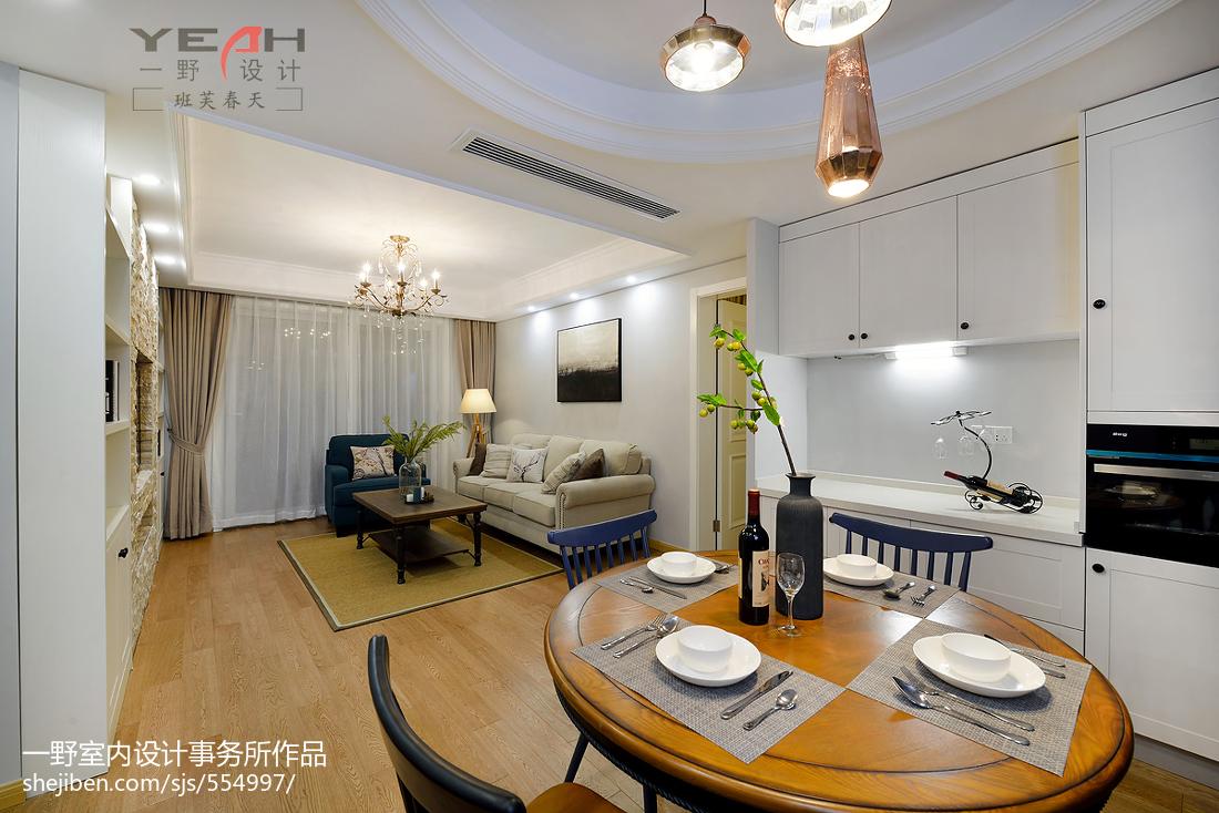 精选面积70平美式二居客厅装修实景图片欣赏