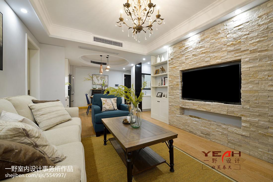 86平米二居客厅美式装修设计效果图片欣赏