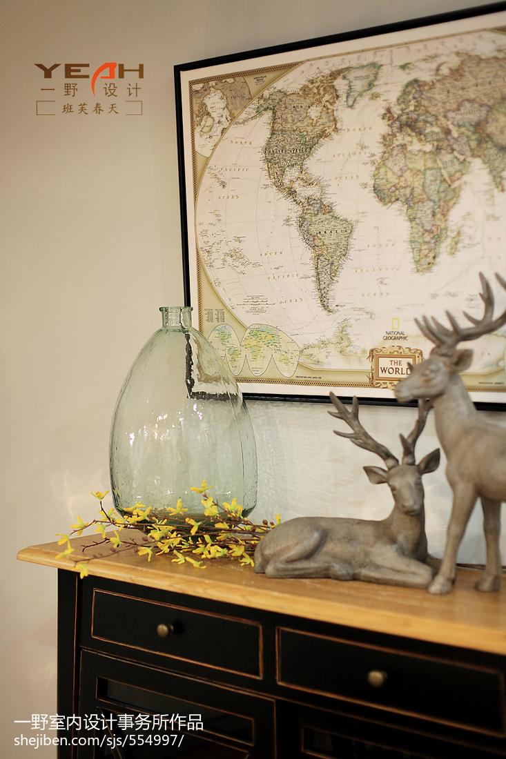 精美75平米二居客厅美式装修效果图片欣赏