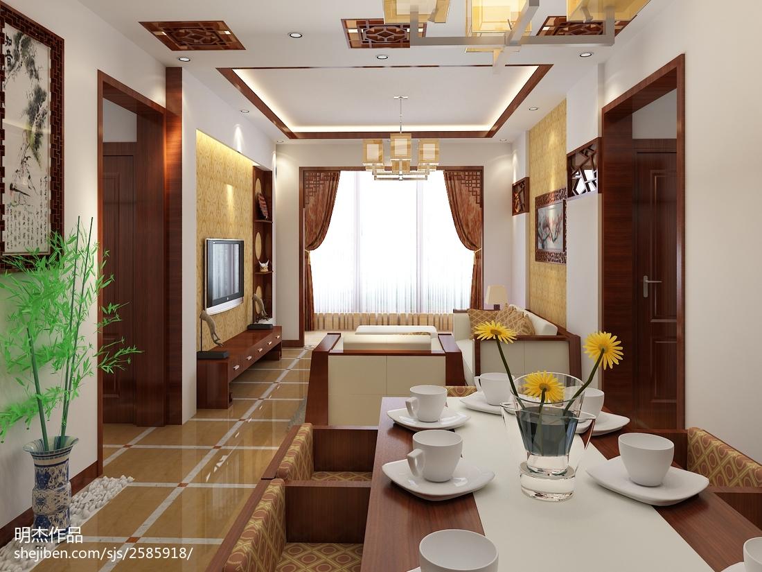 热门面积72平中式二居装修欣赏图片