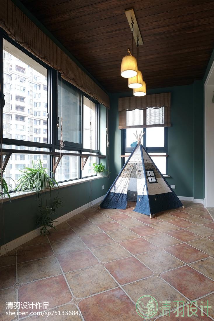 浪漫105平美式三居阳台设计图