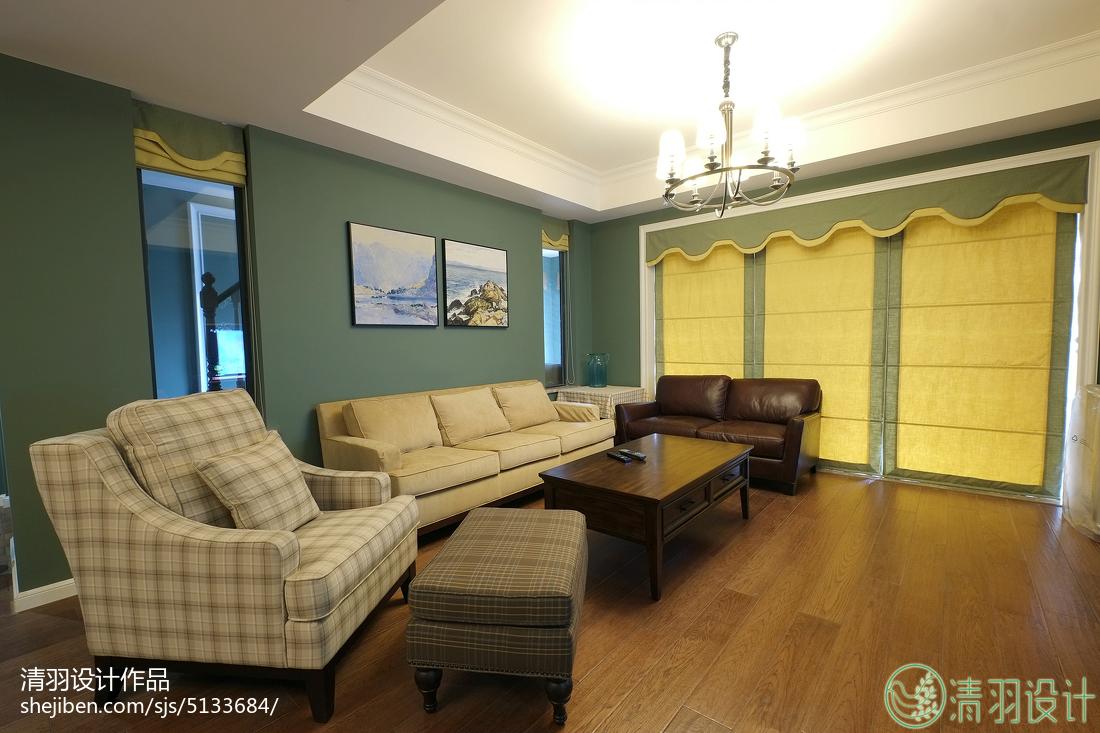 精致118平美式三居客厅装饰图片