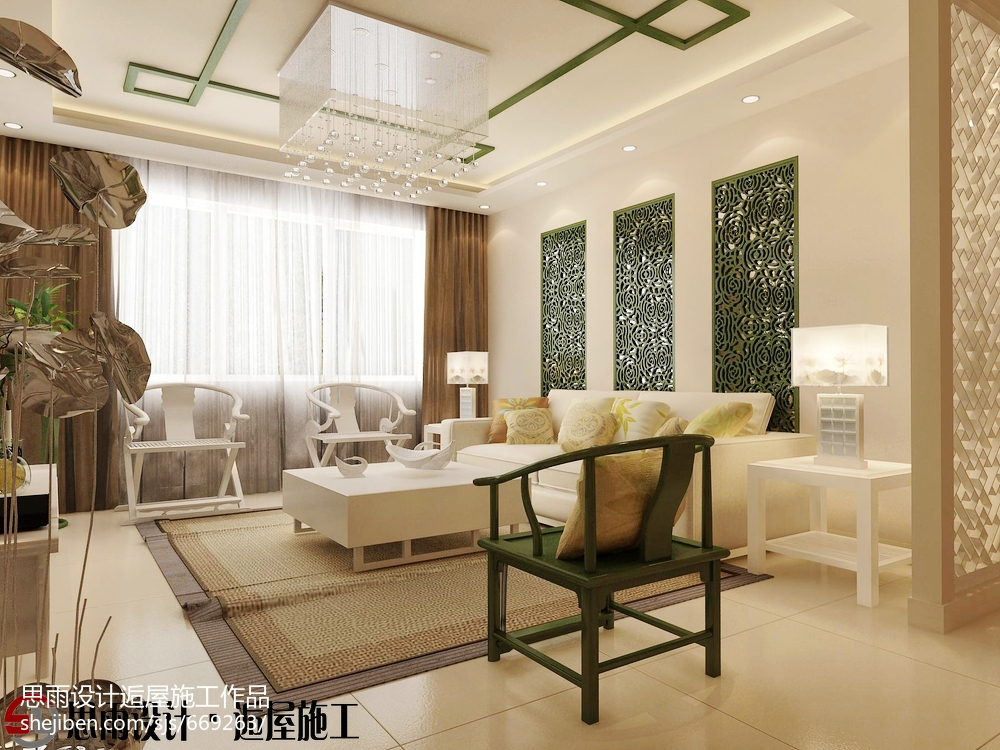 三室两厅中式风格客厅装修效果图大全2014图片