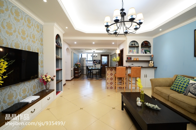 华丽46平美式复式客厅实景图片