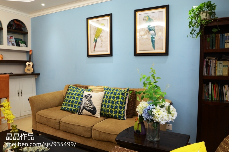 明亮73平美式复式客厅效果图欣赏