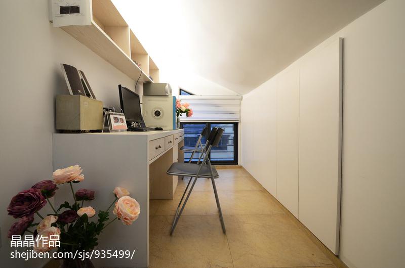 温馨64平美式复式书房装修装饰图