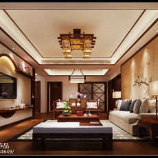 125平米四居客厅中式装修实景图片欣赏