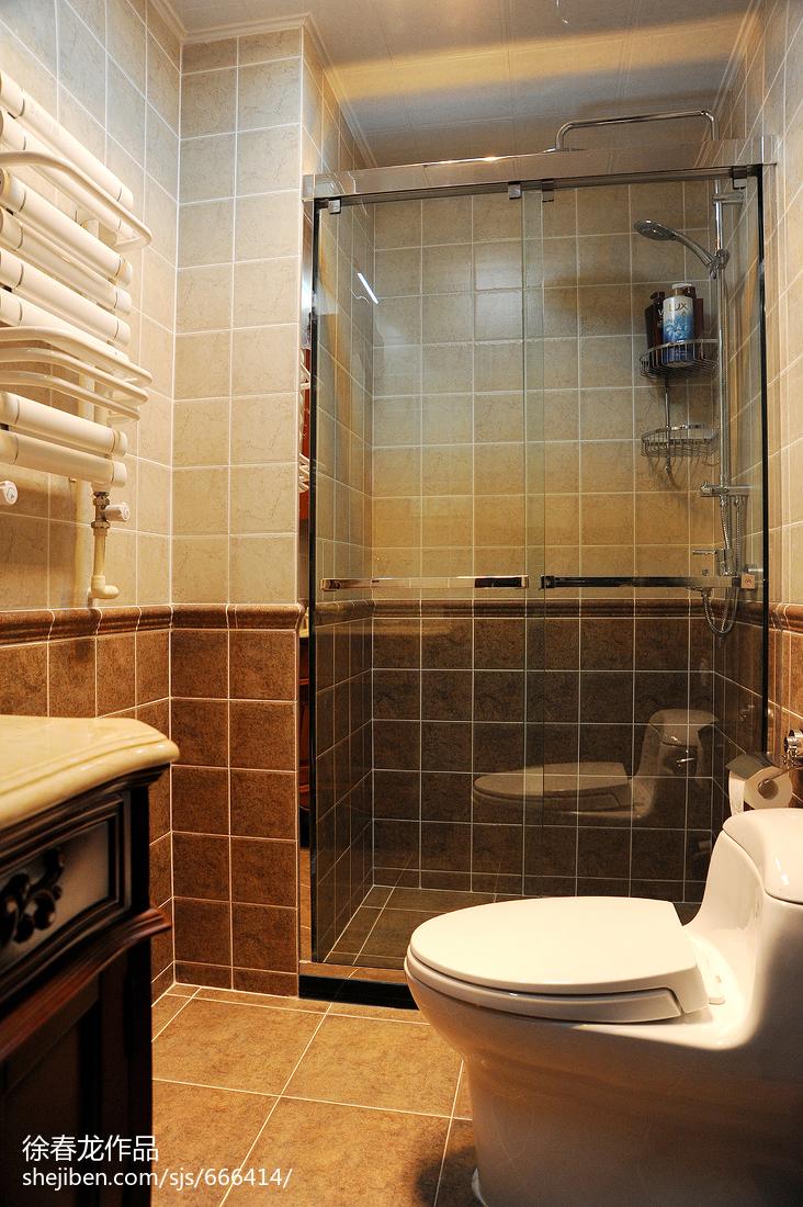 热门面积83平美式二居卫生间效果图片大全