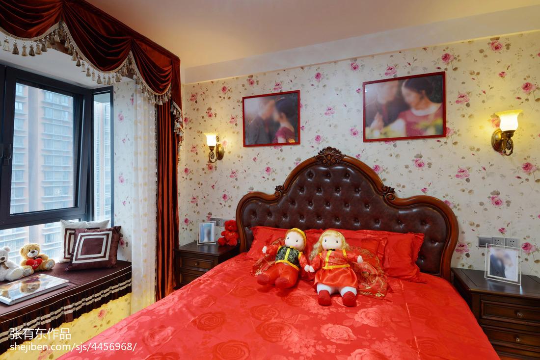 大气78平美式二居卧室装修设计图