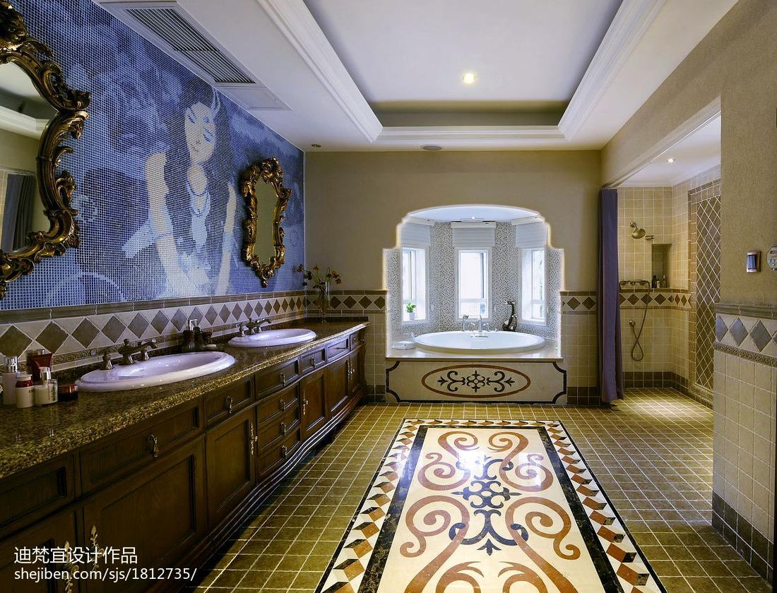 面积123平别墅卫生间美式装修设计效果图片欣赏