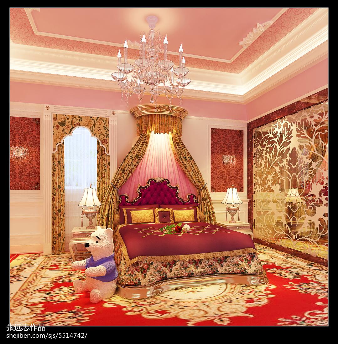 欧式创意双人床儿童房设计图大全
