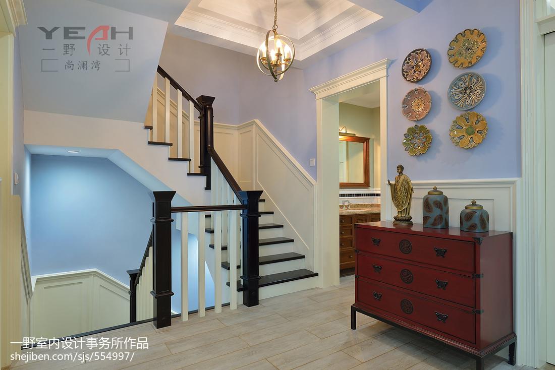 135平米美式别墅过道装修设计效果图片大全
