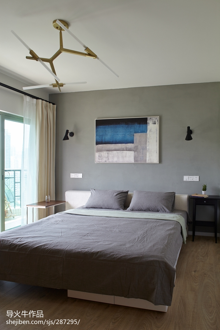 精选103平米三居卧室北欧实景图