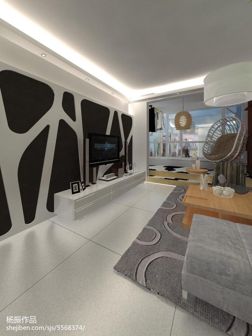 热门面积76平现代二居客厅装饰图片大全
