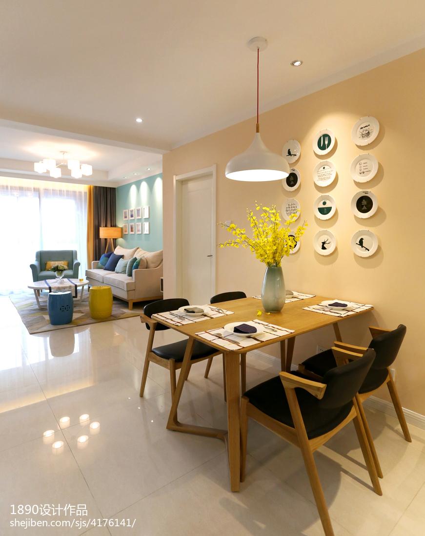 二居室清新的現代餐廳背景墻效果圖