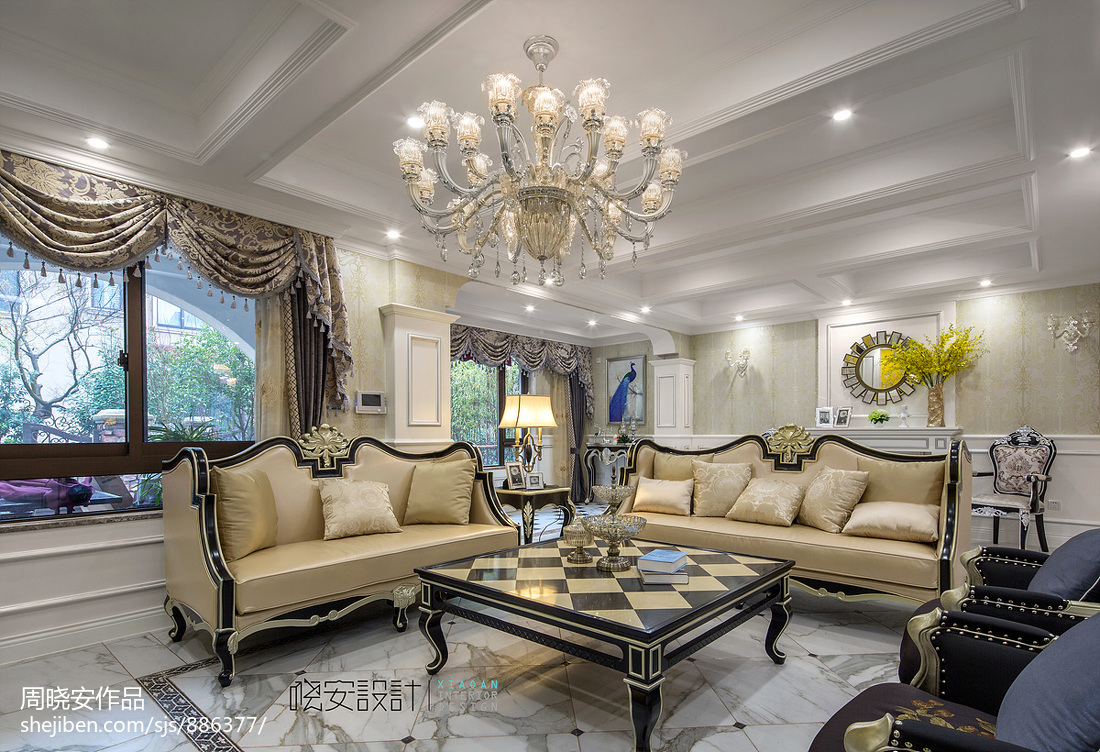 华丽504平新古典别墅客厅装潢图