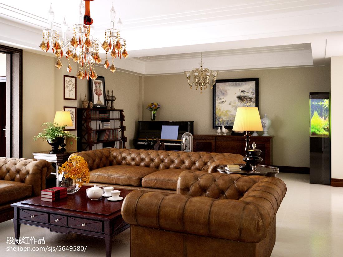 2018精选面积124平美式四居客厅效果图片大全