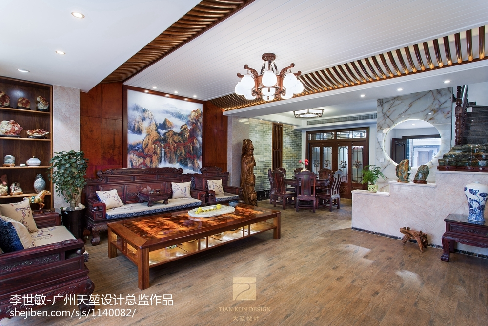 精选123平米中式别墅客厅效果图片