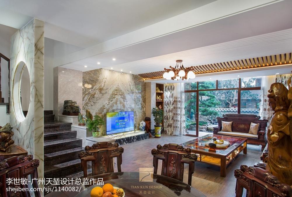 别墅豪宅中式客厅效果图
