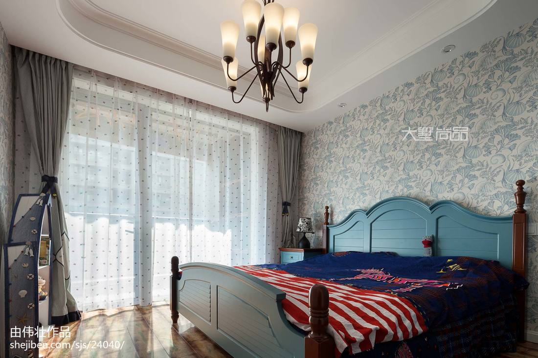 明亮79平地中海三居卧室装修装饰图