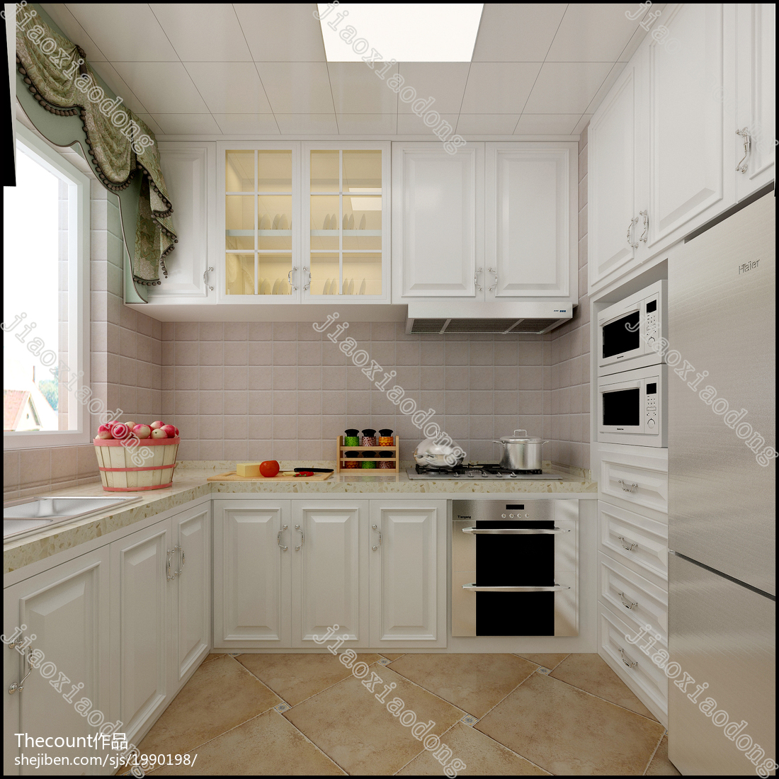 2018二居厨房美式装修设计效果图片