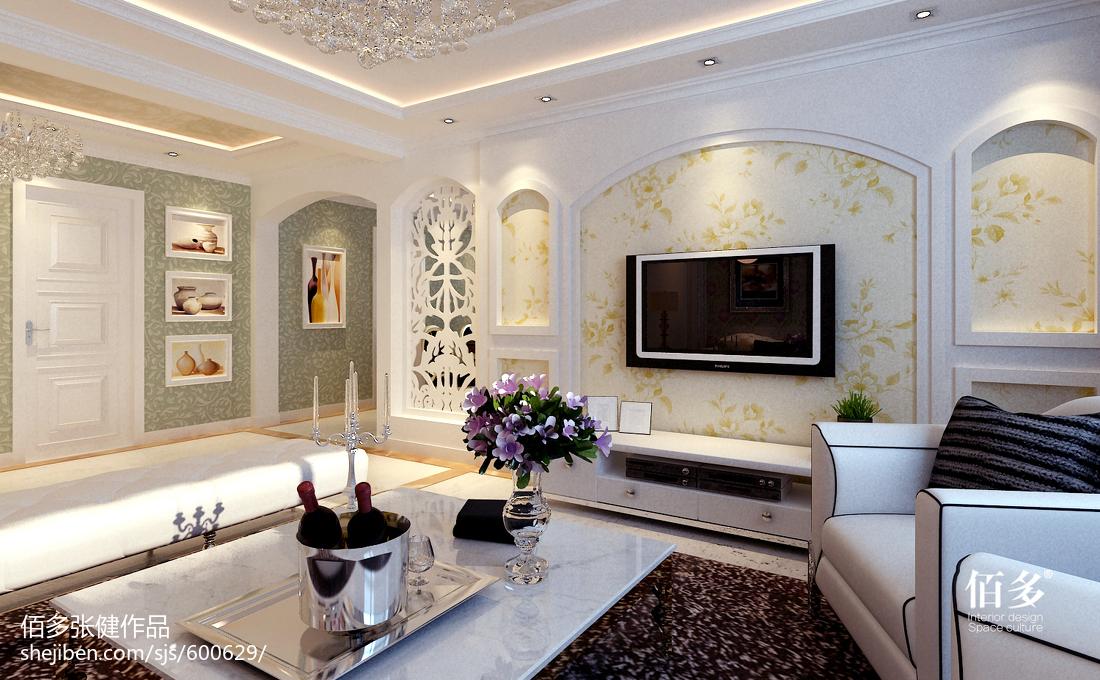 2018精选87平米二居客厅欧式装修实景图片欣赏