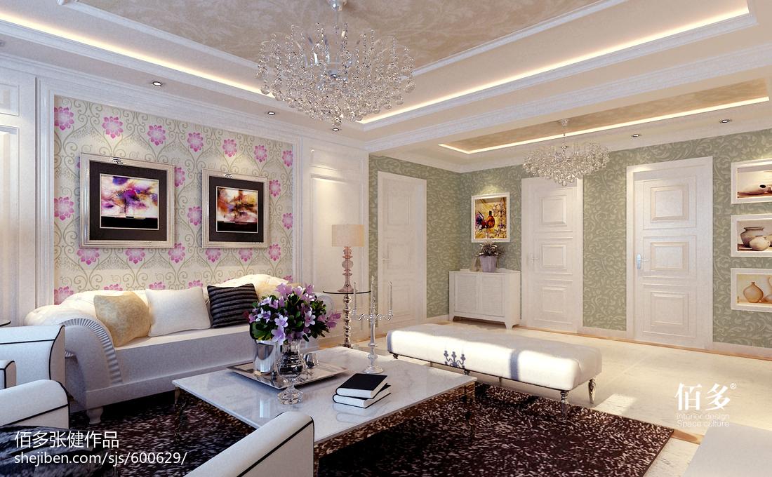 面积72平欧式二居客厅装修效果图片