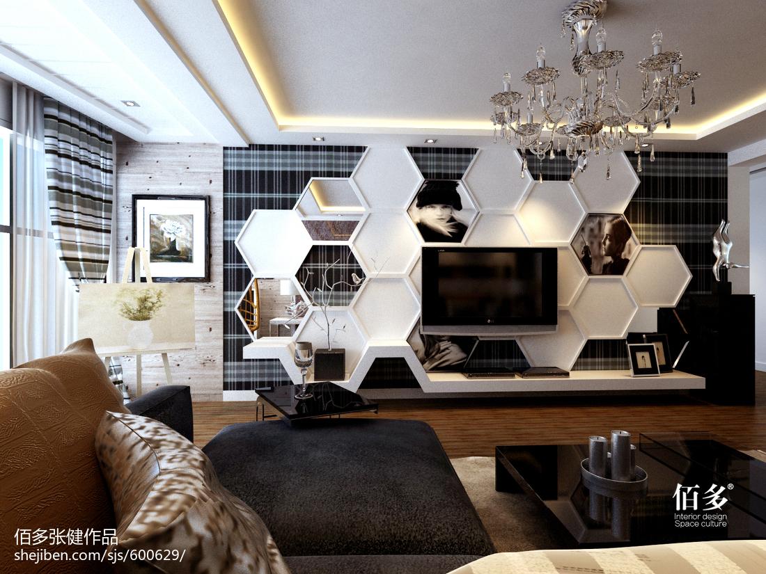 精选98平客厅三居现代装饰图片大全